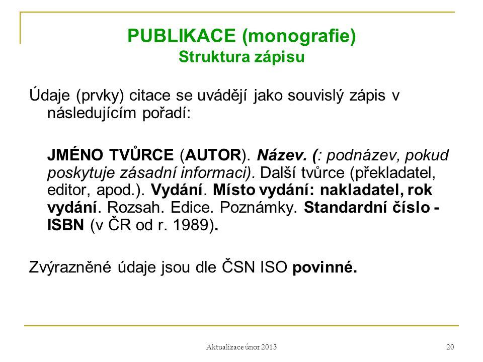 PUBLIKACE (monografie) Struktura zápisu