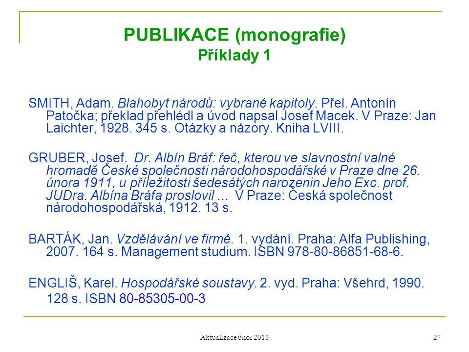 PUBLIKACE (monografie) Příklady 1