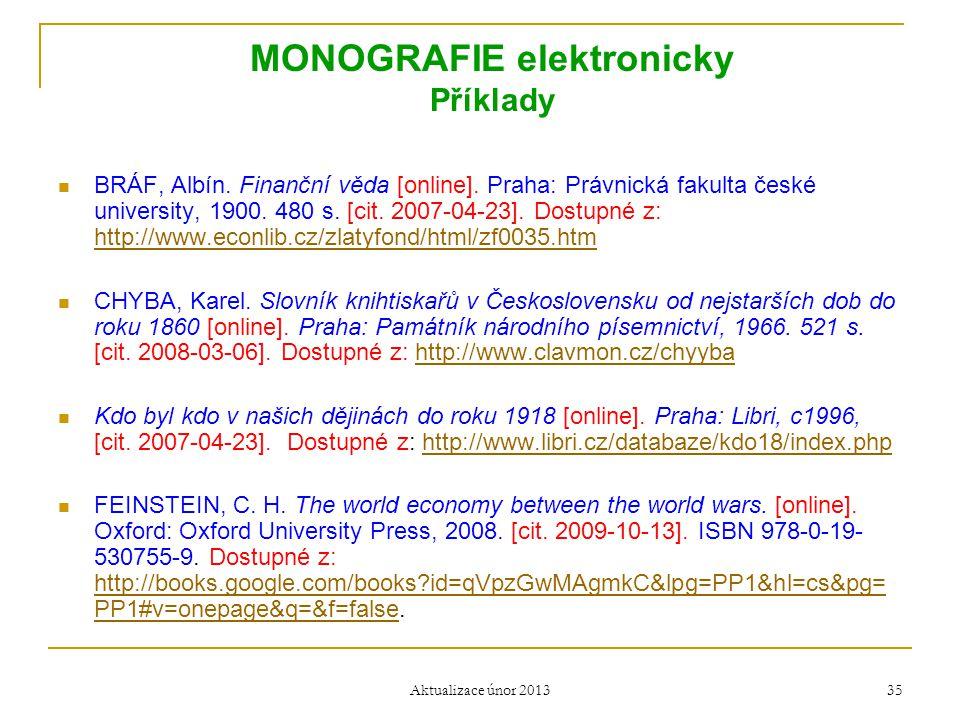 MONOGRAFIE elektronicky Příklady