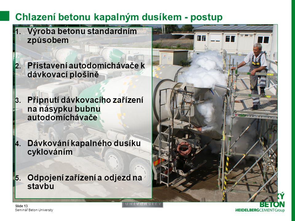 Chlazení betonu kapalným dusíkem - postup
