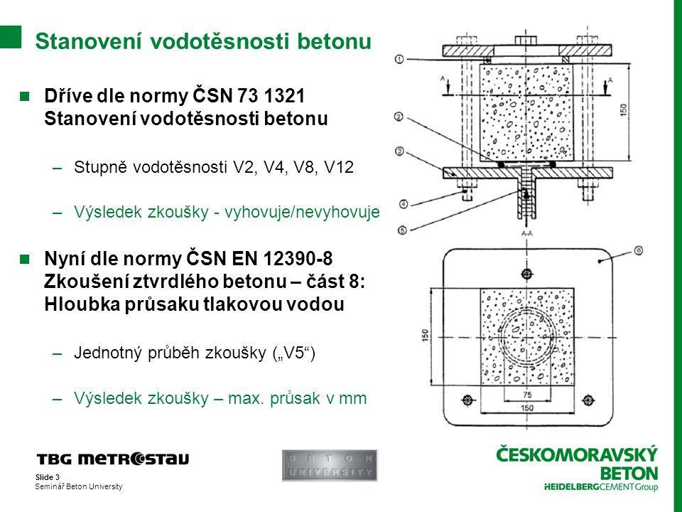 Stanovení vodotěsnosti betonu