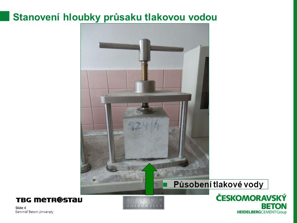 Stanovení hloubky průsaku tlakovou vodou