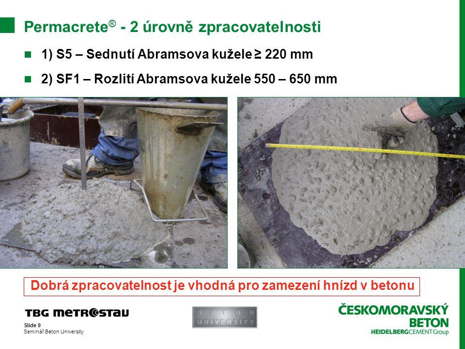 Permacrete® - 2 úrovně zpracovatelnosti