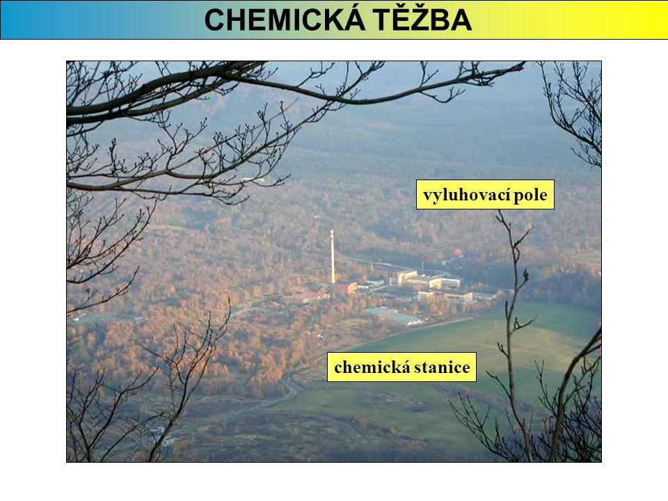 CHEMICKÁ TĚŽBA vyluhovací pole chemická stanice
