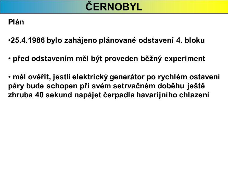ČERNOBYL Plán 25.4.1986 bylo zahájeno plánované odstavení 4. bloku