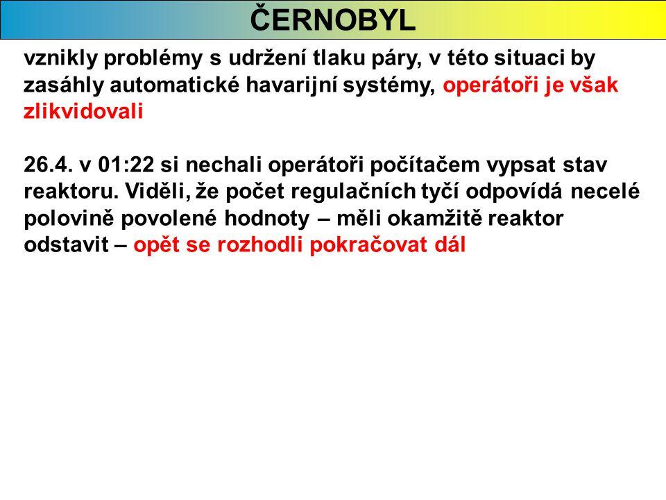 ČERNOBYL vznikly problémy s udržení tlaku páry, v této situaci by zasáhly automatické havarijní systémy, operátoři je však zlikvidovali.