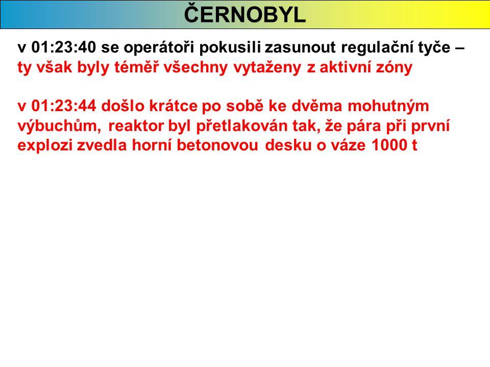 ČERNOBYL v 01:23:40 se operátoři pokusili zasunout regulační tyče – ty však byly téměř všechny vytaženy z aktivní zóny.