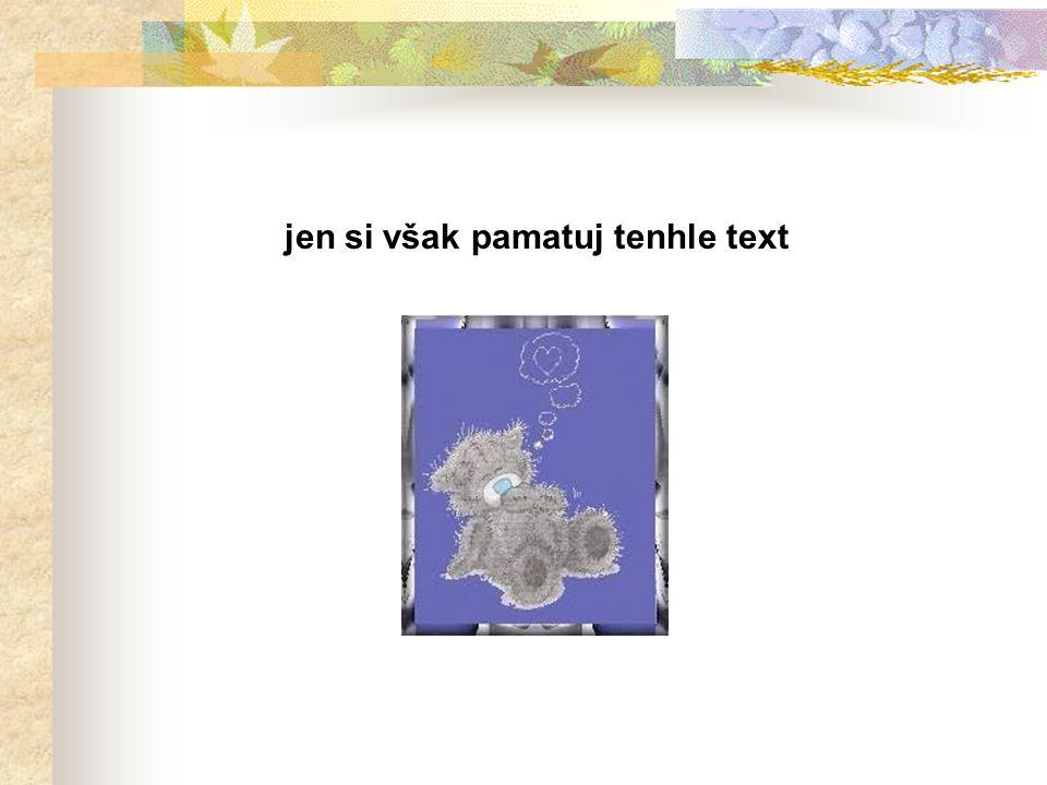 jen si však pamatuj tenhle text