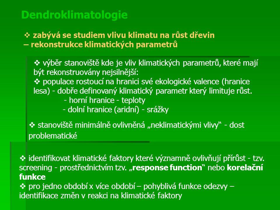 Dendroklimatologie zabývá se studiem vlivu klimatu na růst dřevin – rekonstrukce klimatických parametrů.