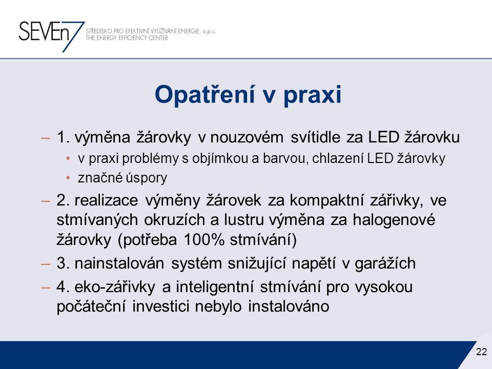 Opatření v praxi 1. výměna žárovky v nouzovém svítidle za LED žárovku
