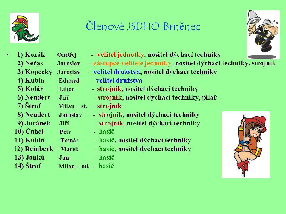 Členové JSDHO Brněnec 1) Kozák Ondřej - velitel jednotky, nositel dýchací techniky.