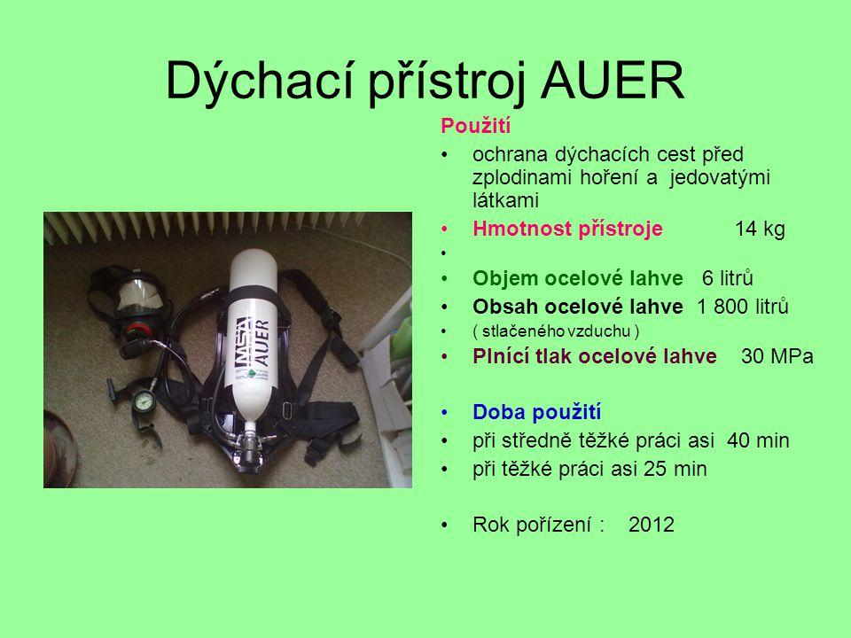 Dýchací přístroj AUER Použití
