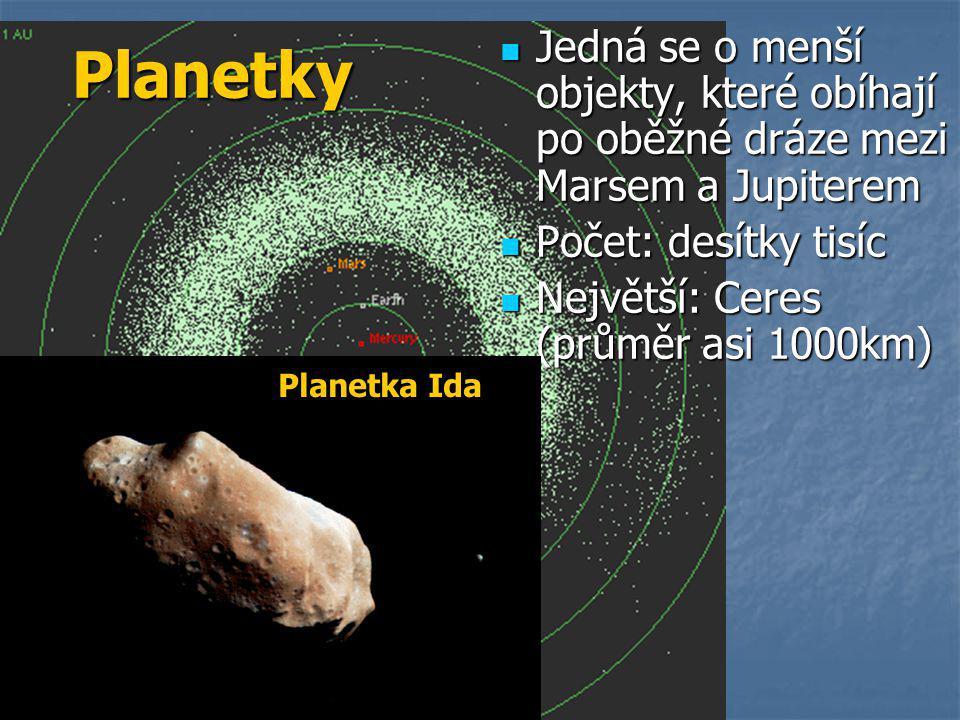 Planetky Jedná se o menší objekty, které obíhají po oběžné dráze mezi Marsem a Jupiterem. Počet: desítky tisíc.