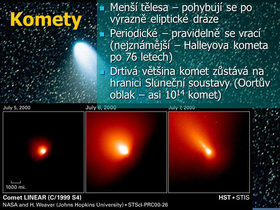 Komety Menší tělesa – pohybují se po výrazně eliptické dráze