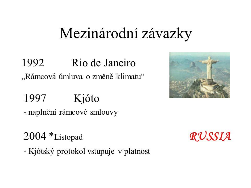 Mezinárodní závazky 1992 Rio de Janeiro 1997 Kjóto