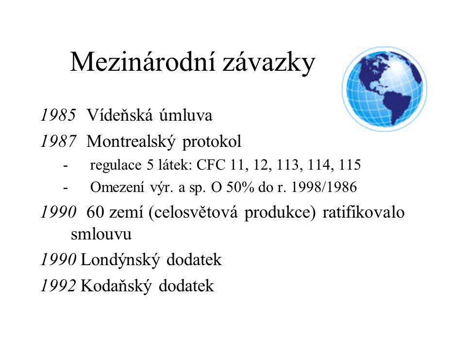 Mezinárodní závazky 1985 Vídeňská úmluva 1987 Montrealský protokol