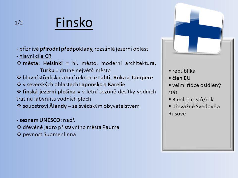 Finsko 1/2 příznivé přírodní předpoklady, rozsáhlá jezerní oblast