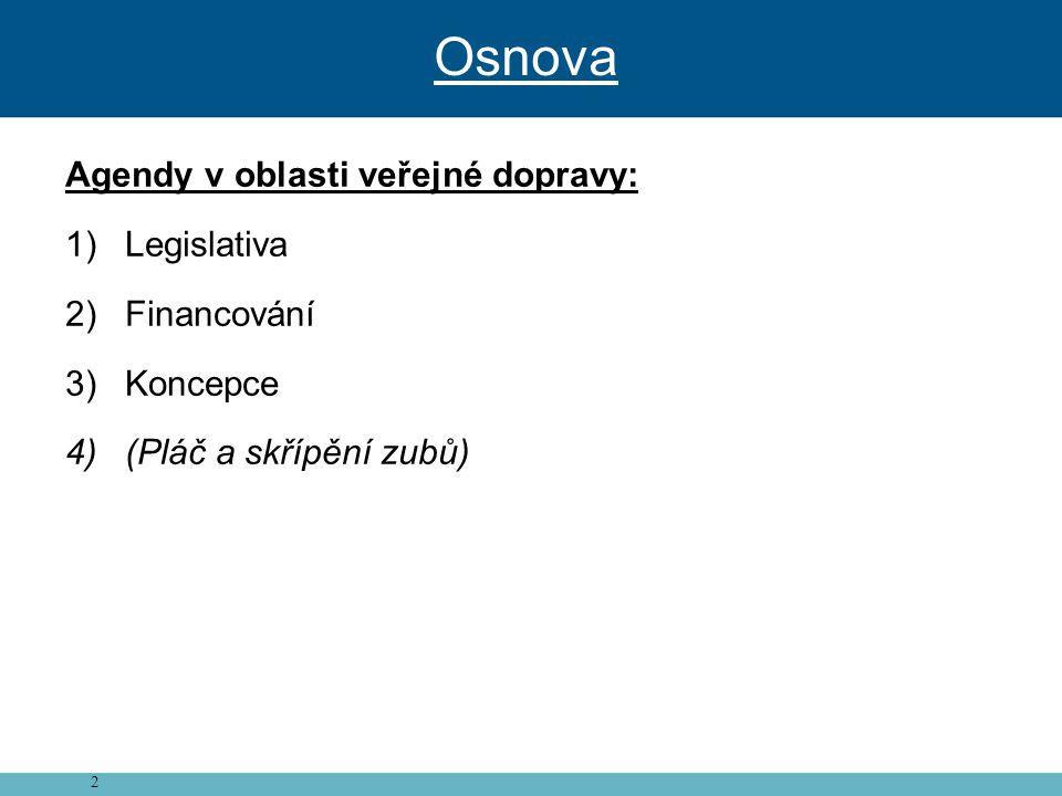 Osnova Agendy v oblasti veřejné dopravy: Legislativa Financování