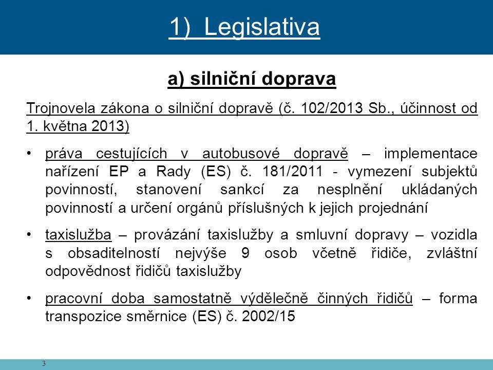 1) Legislativa a) silniční doprava