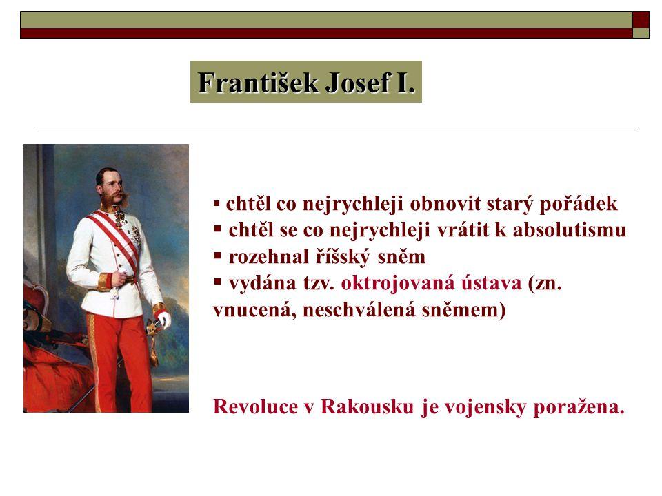 František Josef I. chtěl se co nejrychleji vrátit k absolutismu