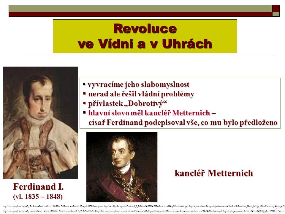 Revoluce ve Vídni a v Uhrách kancléř Metternich Ferdinand I.