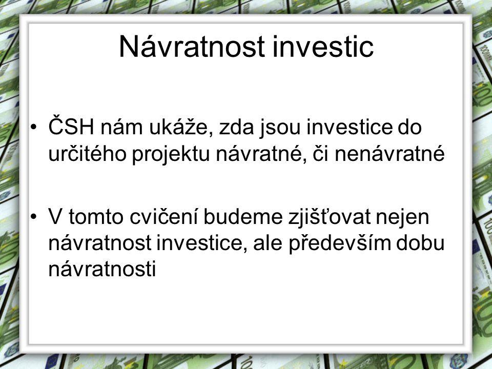 Návratnost investic ČSH nám ukáže, zda jsou investice do určitého projektu návratné, či nenávratné.