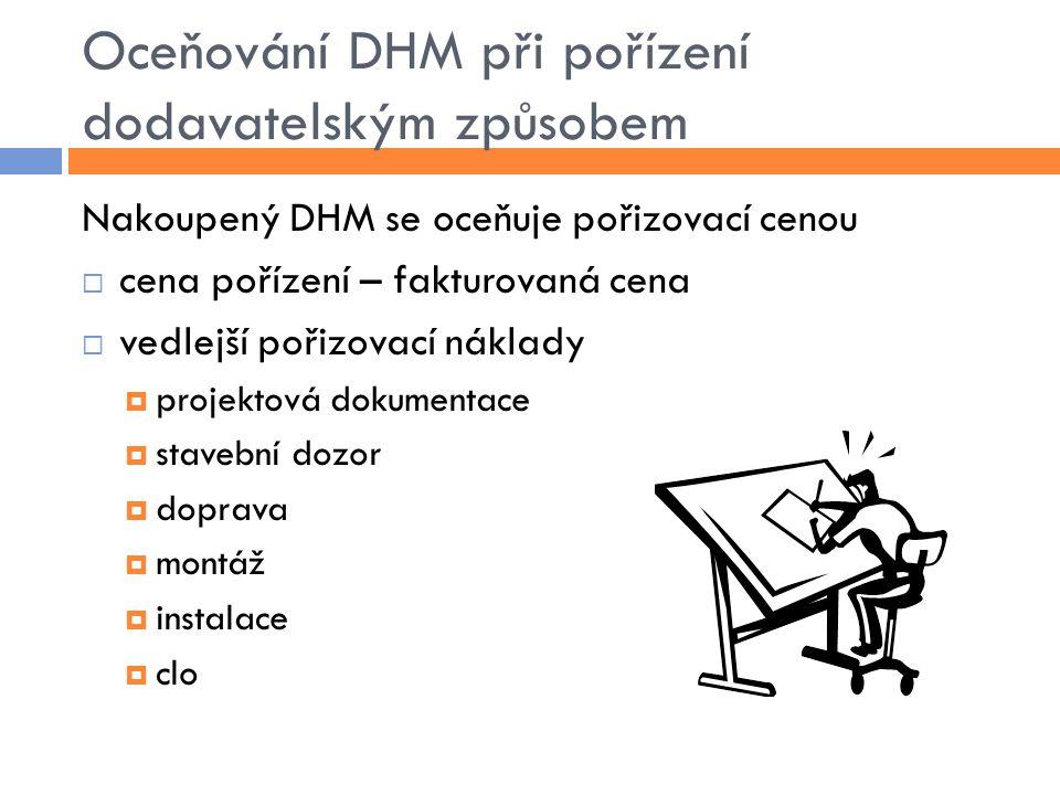 Oceňování DHM při pořízení dodavatelským způsobem