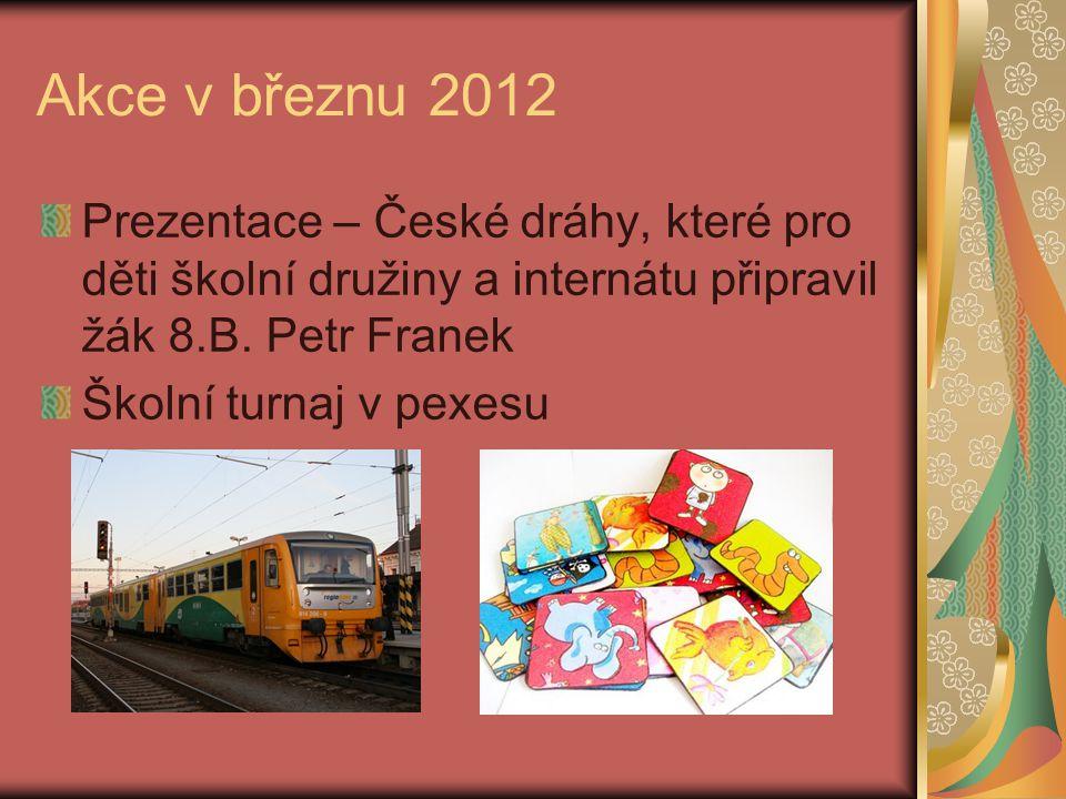 Akce v březnu 2012 Prezentace – České dráhy, které pro děti školní družiny a internátu připravil žák 8.B. Petr Franek.