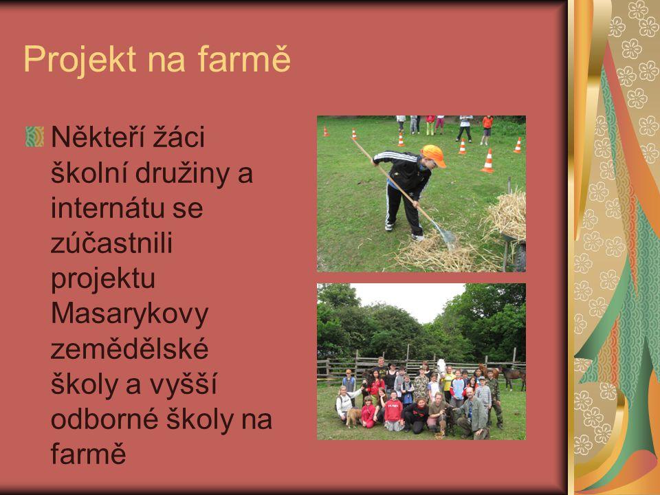Projekt na farmě Někteří žáci školní družiny a internátu se zúčastnili projektu Masarykovy zemědělské školy a vyšší odborné školy na farmě.