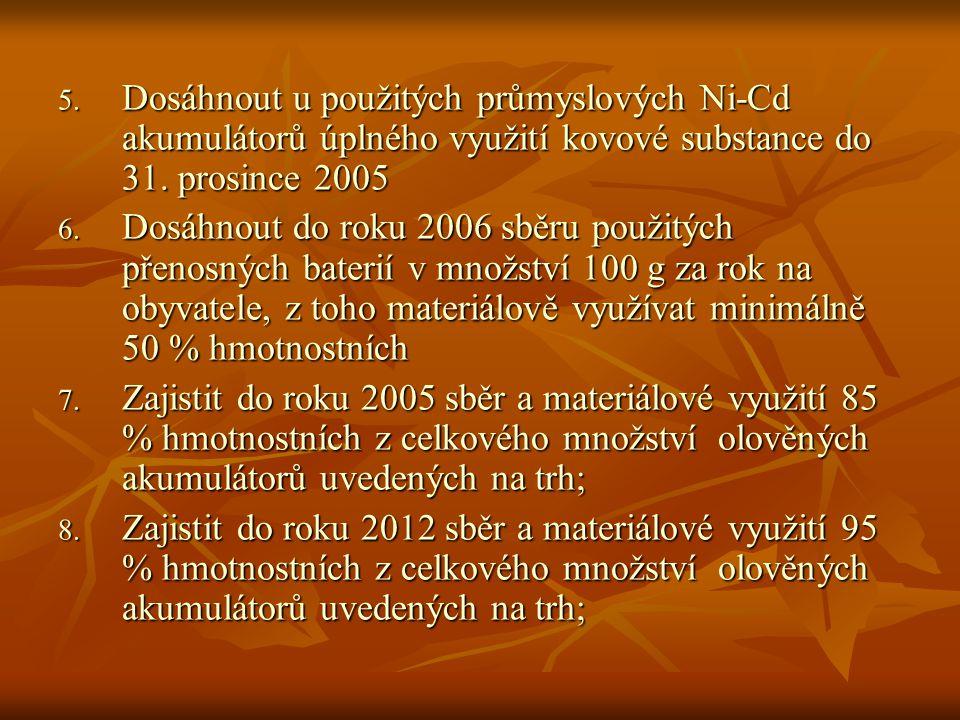 Dosáhnout u použitých průmyslových Ni-Cd akumulátorů úplného využití kovové substance do 31. prosince 2005