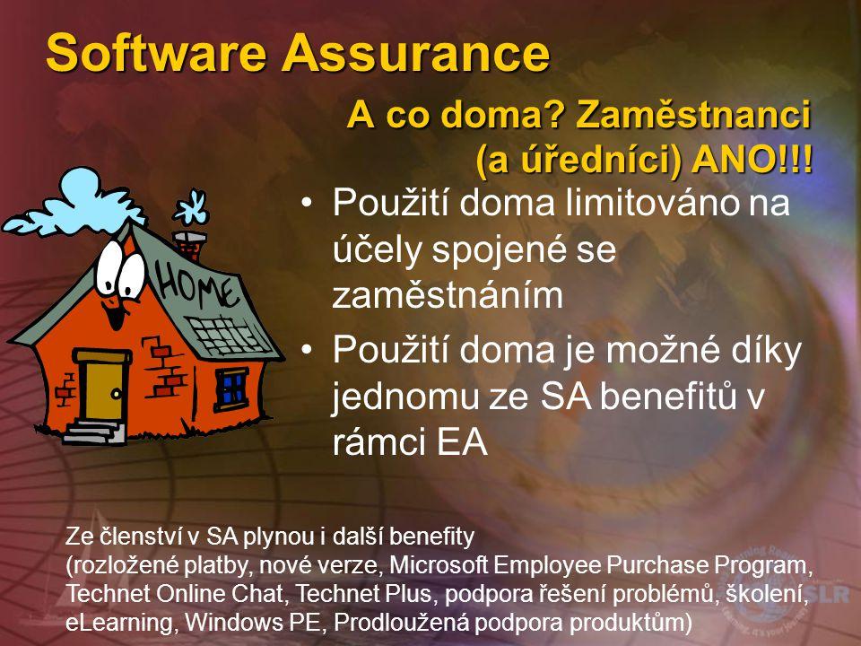 Software Assurance A co doma Zaměstnanci (a úředníci) ANO!!!