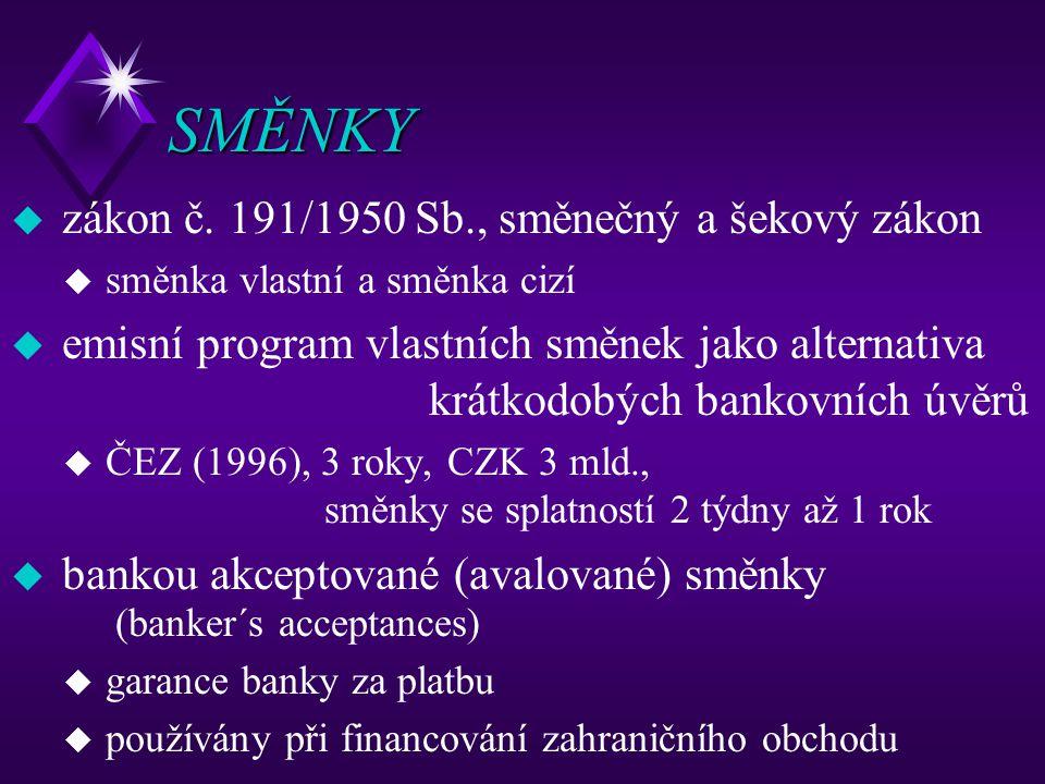 SMĚNKY zákon č. 191/1950 Sb., směnečný a šekový zákon