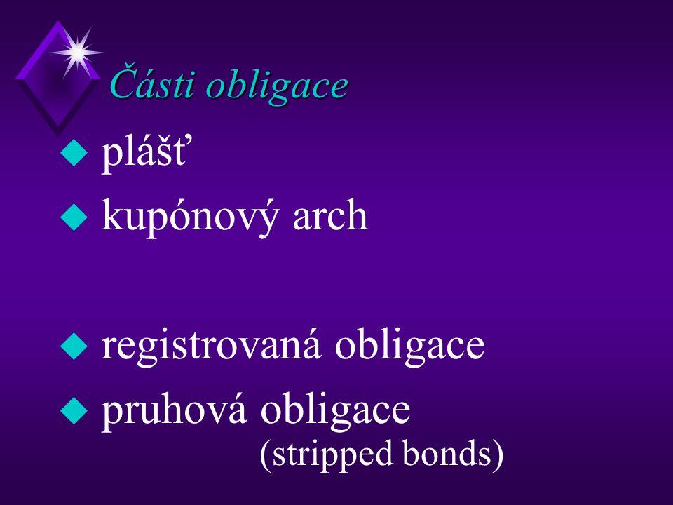 registrovaná obligace pruhová obligace (stripped bonds)