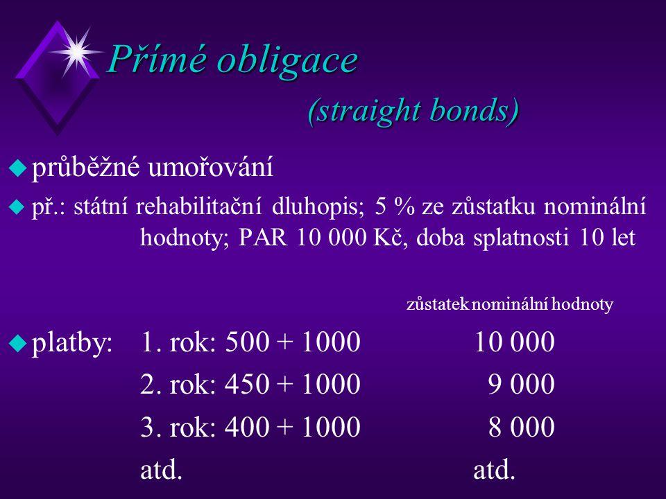 Přímé obligace (straight bonds)