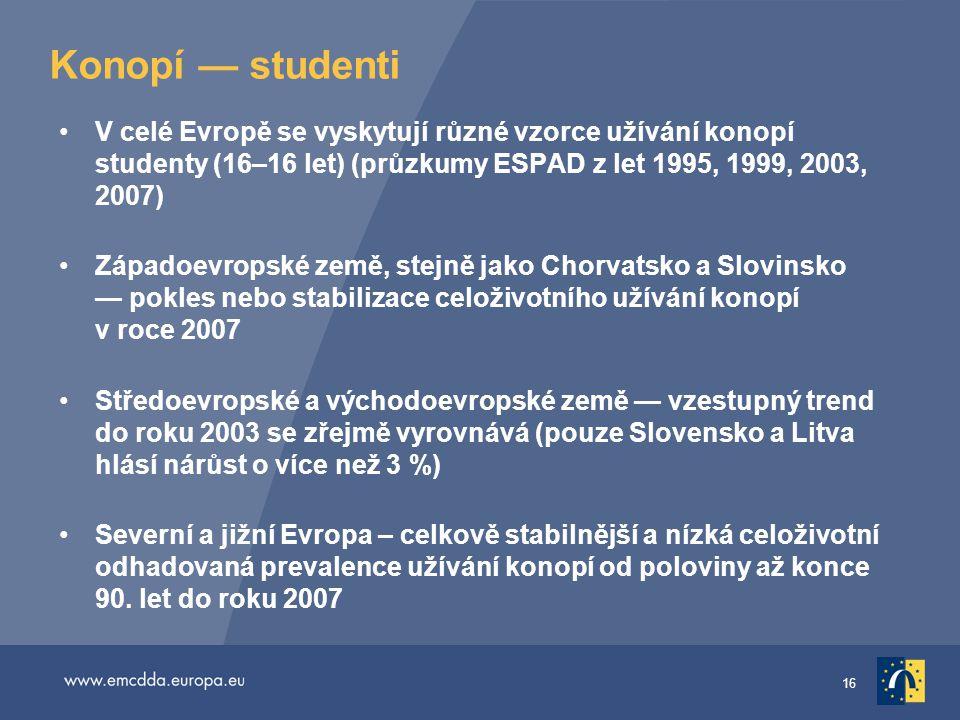 Konopí — studenti V celé Evropě se vyskytují různé vzorce užívání konopí studenty (16–16 let) (průzkumy ESPAD z let 1995, 1999, 2003, 2007)