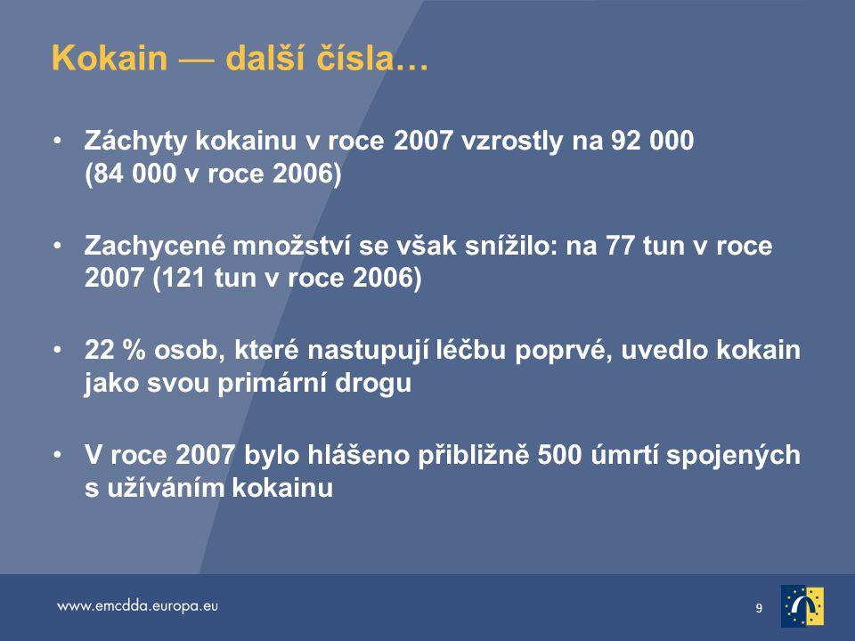 Kokain — další čísla… Záchyty kokainu v roce 2007 vzrostly na 92 000 (84 000 v roce 2006)