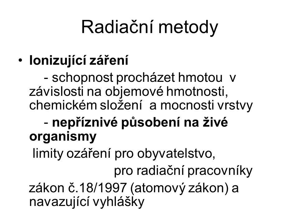 Radiační metody Ionizující záření