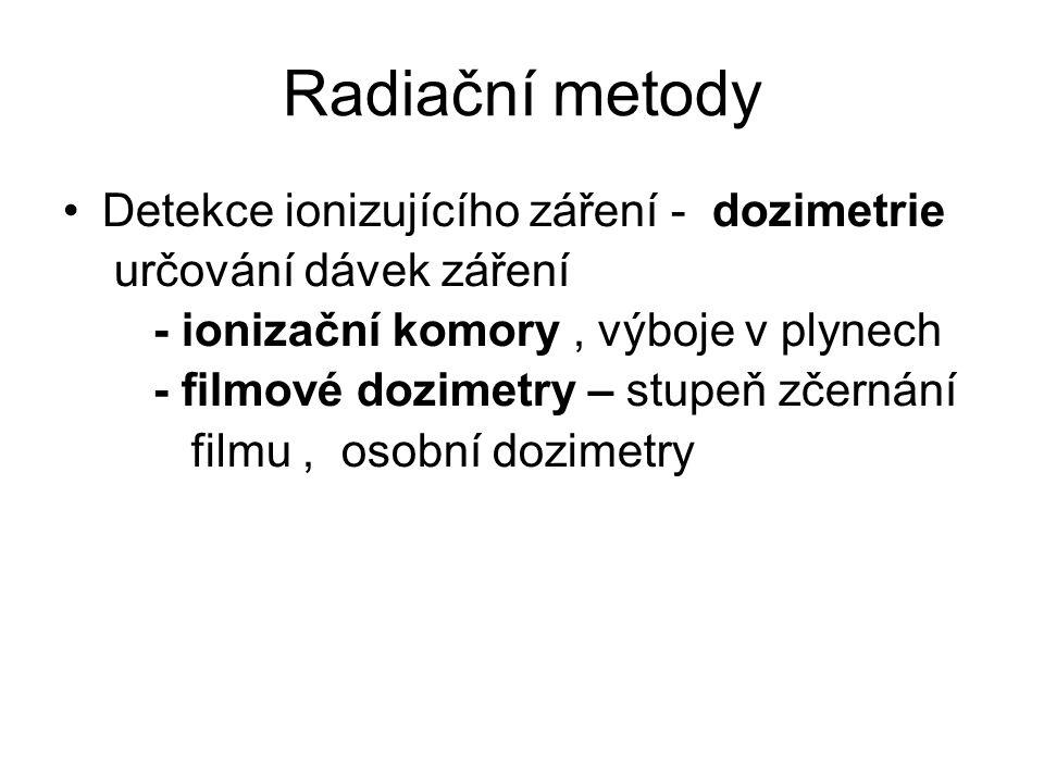 Radiační metody Detekce ionizujícího záření - dozimetrie