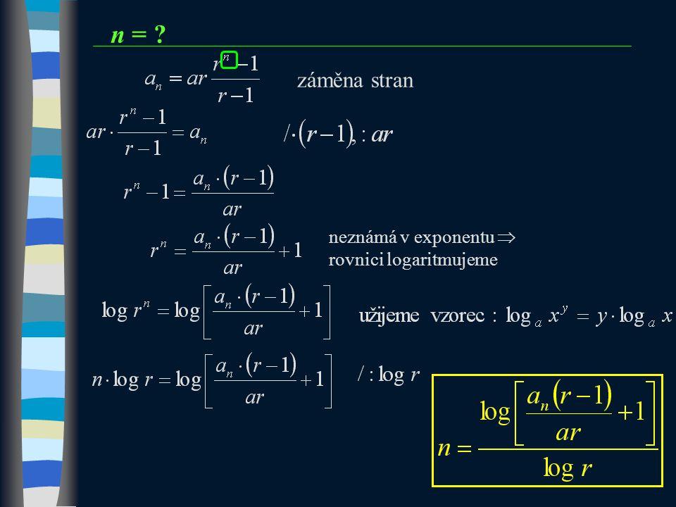n = záměna stran neznámá v exponentu  rovnici logaritmujeme 13