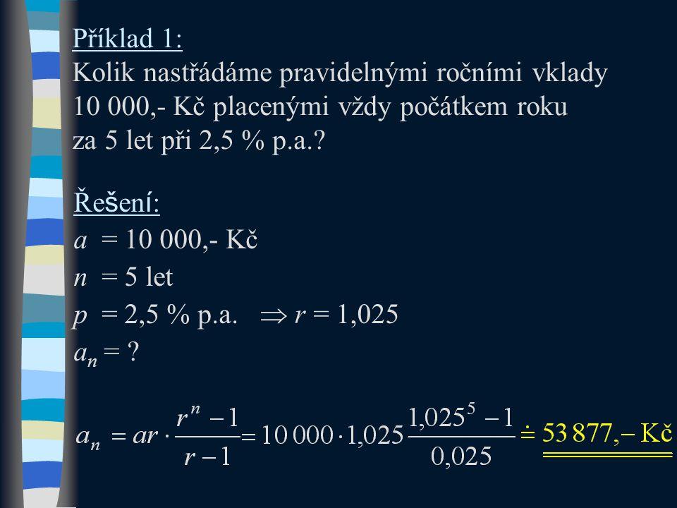 Příklad 1: Kolik nastřádáme pravidelnými ročními vklady 10 000,- Kč placenými vždy počátkem roku za 5 let při 2,5 % p.a.