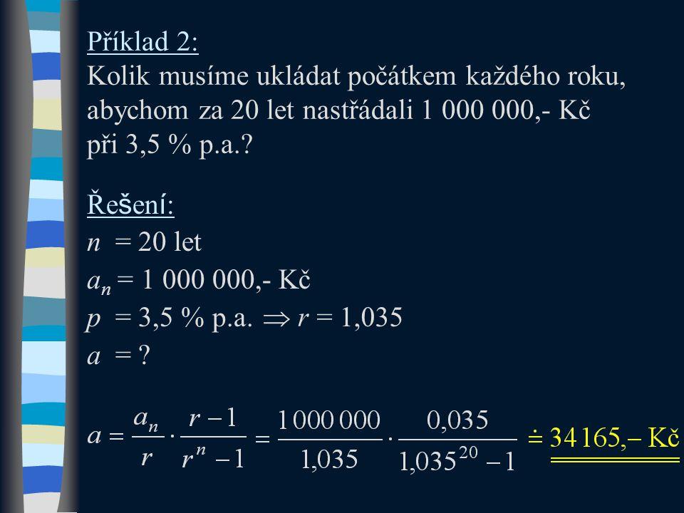 Příklad 2: Kolik musíme ukládat počátkem každého roku, abychom za 20 let nastřádali 1 000 000,- Kč při 3,5 % p.a.