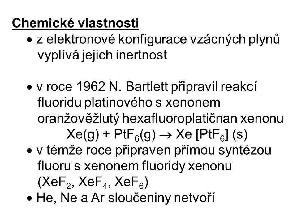Chemické vlastnosti  z elektronové konfigurace vzácných plynů. vyplívá jejich inertnost.  v roce 1962 N. Bartlett připravil reakcí.