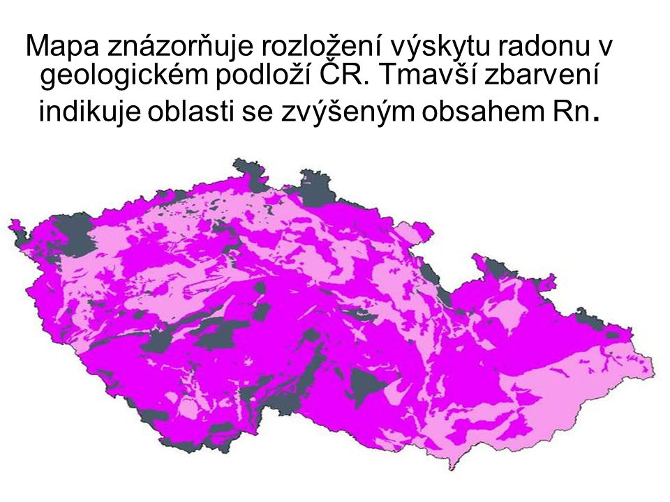 Mapa znázorňuje rozložení výskytu radonu v geologickém podloží ČR