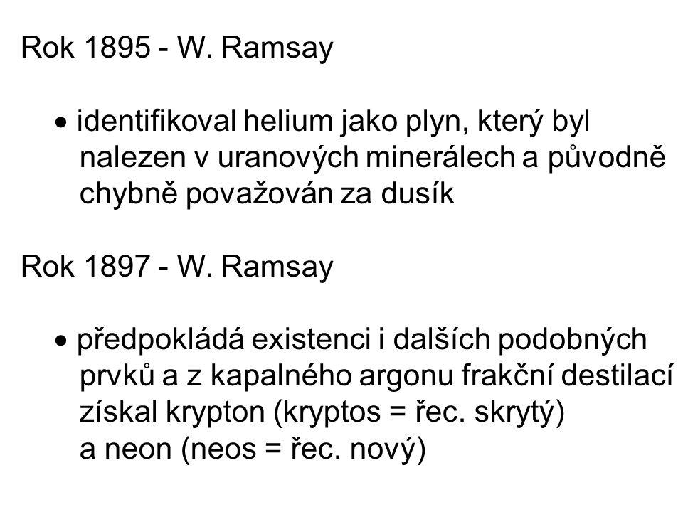 Rok 1895 - W. Ramsay  identifikoval helium jako plyn, který byl. nalezen v uranových minerálech a původně.