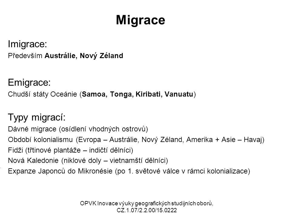 Migrace Imigrace: Emigrace: Typy migrací: