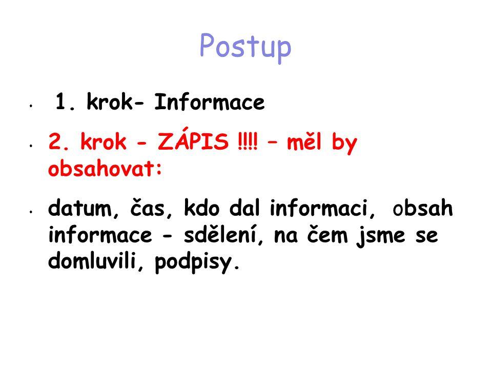 Postup 1. krok- Informace 2. krok - ZÁPIS !!!! – měl by obsahovat: