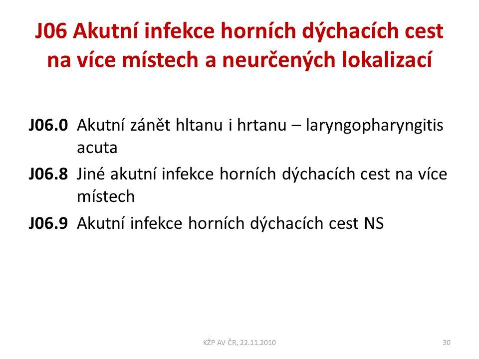 J06 Akutní infekce horních dýchacích cest na více místech a neurčených lokalizací