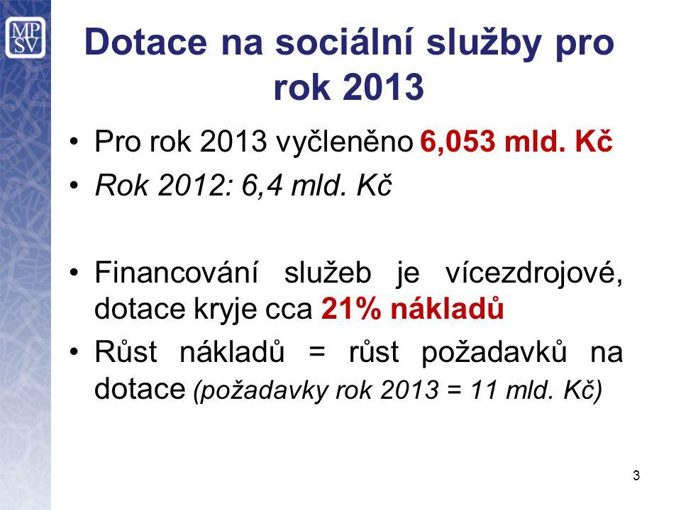 Dotace na sociální služby pro rok 2013