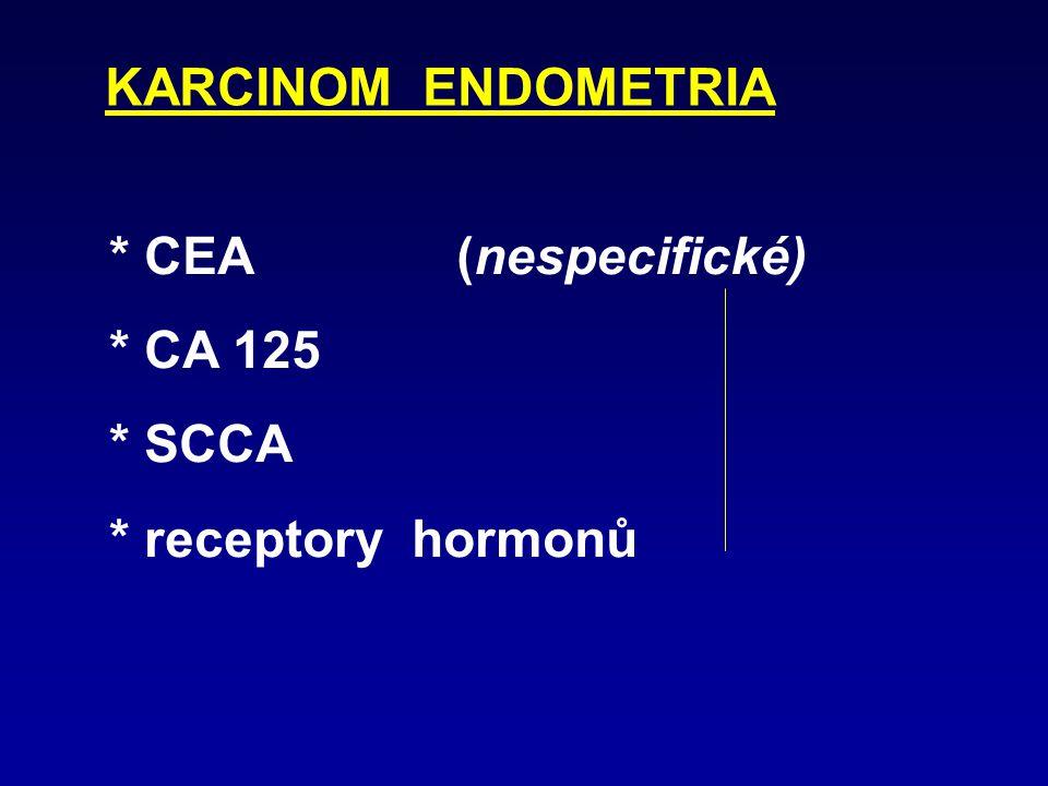 KARCINOM ENDOMETRIA * CEA (nespecifické) * CA 125 * SCCA * receptory hormonů