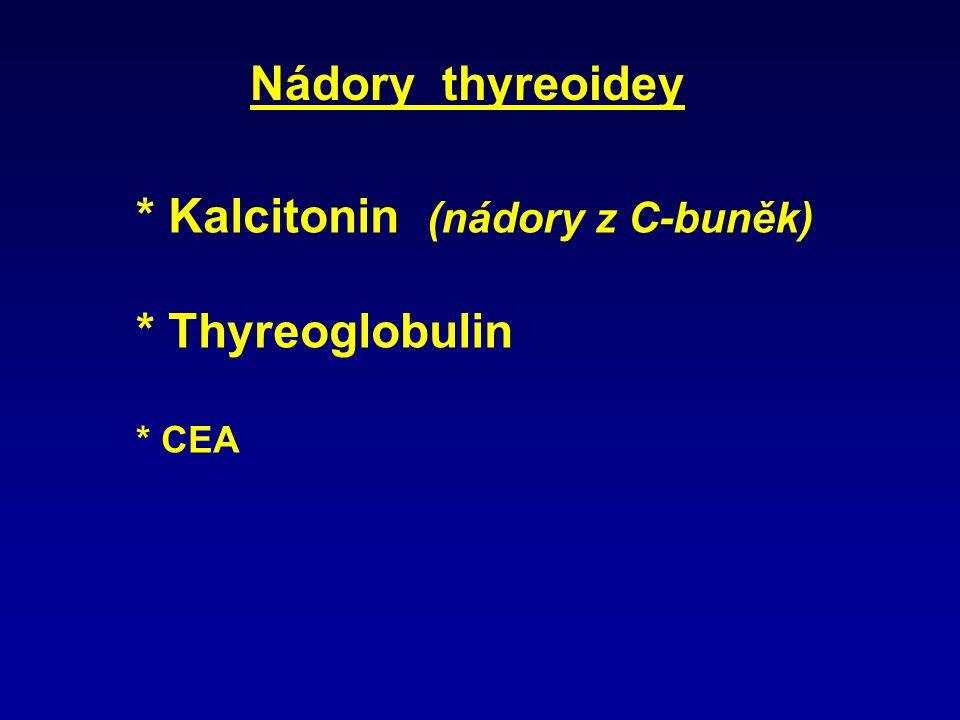 * Kalcitonin (nádory z C-buněk) * Thyreoglobulin